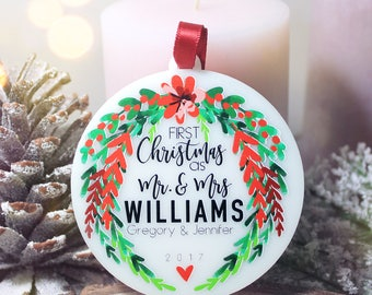 Our First Christmas Ornament Personalized Christmas Ornament Mr and Mrs Ornament Just Married Ornament Custom Ornaments Christmas Gift #10