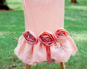 Rosette Chair Sash | Blush Pink Rose Floral Embellishment for Chiavari Slipcover Decor Bridal Shower Bachelorette Party Girl's Birthday
