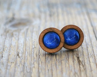 Aries Earrings, Aries Constellation, Zodiac Earrings, Aries Zodiac Earrings, Constellation Earrings, Wooden Earrings, Celestial Zodiac