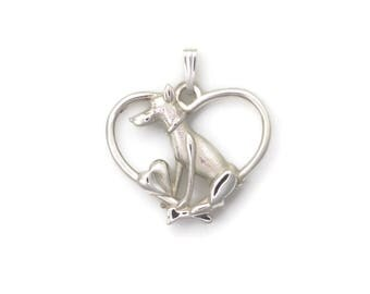 Sterling Silver Doberman Necklace, Silver Doberman Pendant fr Donna Pizarro's Animal Whimsey Collection of Custom Doberman Jewelry