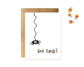Halloween Card - Cute Halloween Cards - Spider Halloween Card Card by Yellow Daisy Paper Co