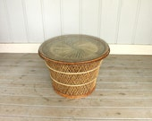 Wicker Rattan Emmanuelle Peacock Style Side Coffee Table Woven Pattern Cane 60's 70's Retro Mid Century Modern Eclectic Boho Bamboo Weave