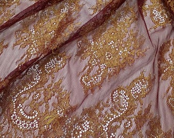 Burgundy with gold lace fabric, France Lace, Embroidery lace, red lace, Wedding Lace, Evening dress lace, Lingerie Lace Alencon Lace LL20201