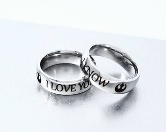 I Love You I know Ring Set Stainless Steel, Couple Ring, Engagement Ring, Geek Ring, Geekery, Alliance Ring, Wedding Gift,