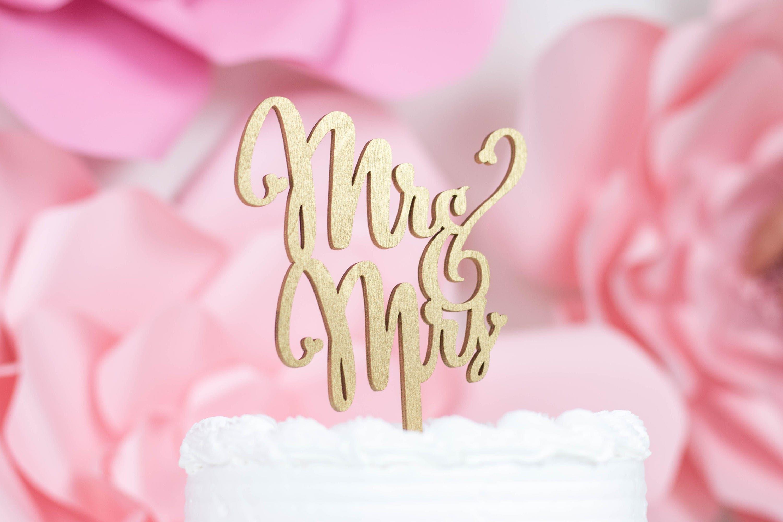 Laser Cut Mr Mrs Script Cake Topper Rustic Wedding