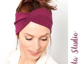 Raspberry Red Turban Headband Women Turban Headband Knit Headwrap Red Headband Knit Headband Women Red Hairband Womens Twist Headband
