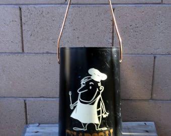 Vintage Charcoal Bucket, BBQ Coal Bucket, Coal Scuttle, Mid Century BBQ Bucket, Outdoor Living, BBQ Accessories