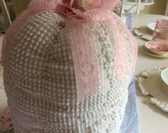Vintage Chenille Fabric Pumpkin w/ Pink & White Mulberry Paper Roses
