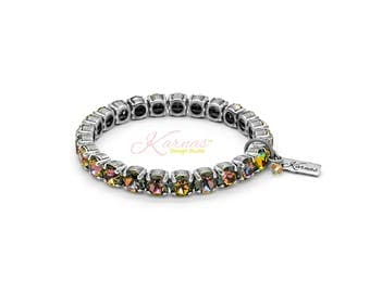 CRYSTAL TWILIGHT 8mm KDS Stretch Bracelet Made With Swarovski Crystal *Pick Your Finish *Karnas Design Studio *Free Shipping