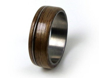 Guitar String Ring, Walnut Titanium Ring