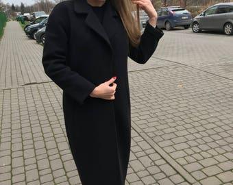Black Wool Coat, Maxi Long Black Coat, Oversize Women Coat, Black Women Coat, Lined