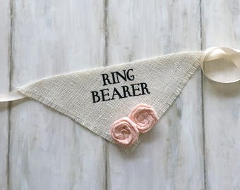 Custom Flower Color Wedding Dog Bandana Ring Bearer Ivory Burlap Engagement Photos Save the Date Cards Bridal Gift Proposal