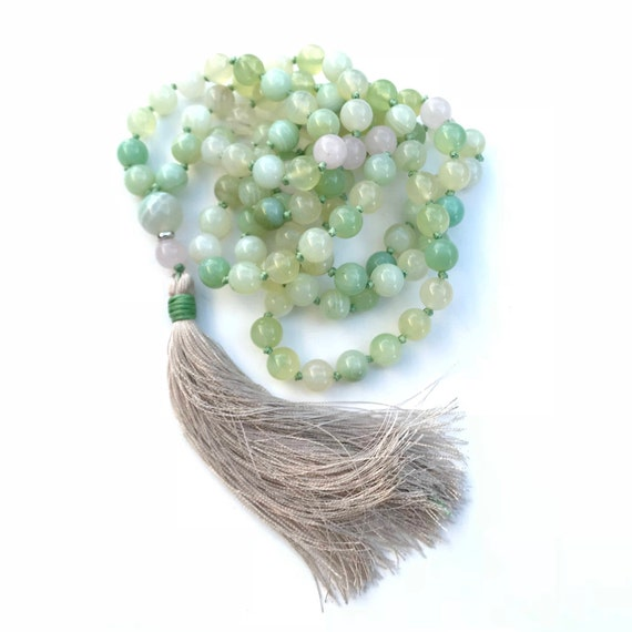 Mala Beads For Stress and Protection, Green Agate Mala Necklace, Rose Quartz Mala For Inner Peace, Hand Knotted, 108 Bead Mala Necklace