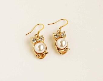 Gold Owl Earrings, Small Owl Earrings, Owl Dangle Earrings, Owl Drop Earrings, Owl Charm Earrings