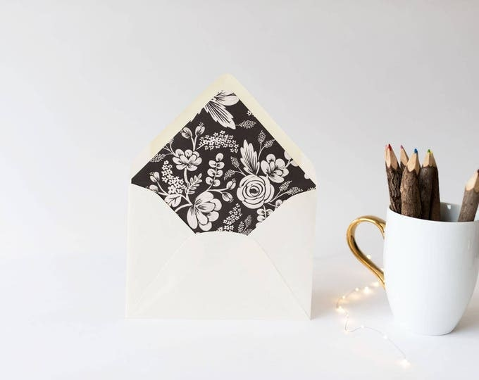"rifle paper ""graphite lace"" floral lined envelopes (sets of 10) // romantic black floral lace rifle paper envelope liners lined envelopes"