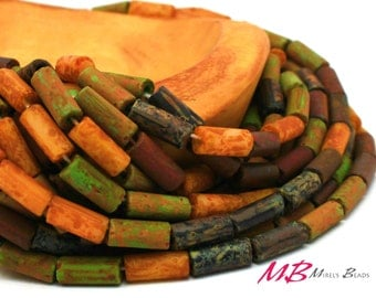 """Aged Matte Picasso Bugle Beads Mix, 9x4mm, 21"""" Strand Mixed Matted Color"""