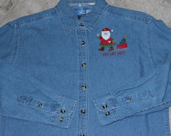 Denim Santa Shirt---ONE Of A KIND