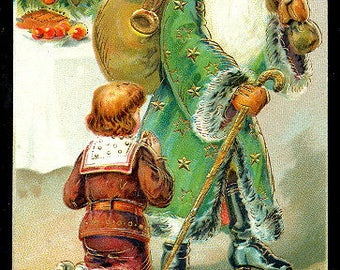 Santa Claus in Green Robe w Child 1907 Postcard