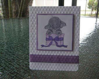 Elephant Birthday Card, Birthday Card, Child's Birthday Card, Kid's Birthday Card, Embossed Card, Girls Birthday Card, Boys Card