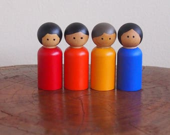 Rainbow peg dolls - Waldorf / Steiner style, set of 4 (red, orange, yellow and blue)
