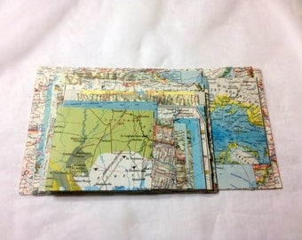 50 trimmed World Map Pieces, vintage Paper Ephemera Craft Pack, squares and rectangles of various sizes from 2 1/2 x 3 1/2 to 9 x 5 inches