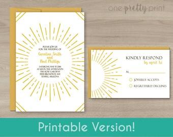 Gold Sunburst Wedding Invitation Set - Printable Version