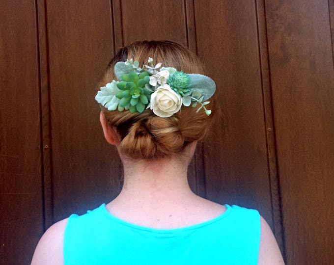 Rustic greenery wedding hair comb bridal hairpiece succulents sola flowers dusty miller ivory elegant simple classy burlap natural eco