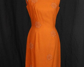 Beautiful Vintage 1960s/1970s Tangerine Sleeveless Sheath Dress with Beaded Embellishments
