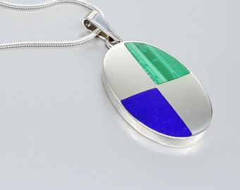 Beautiful pendant with Lapis Lazuli and Malachite with Sterling silver - inlay work - royal blue - gift idea Christmas - geometrical design