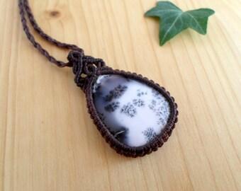Dendrite opal macrame pendant, macrame jewelry, tribal pendant, macrame stone, gemstone pendant, bohemian jewelry, hippie pendant