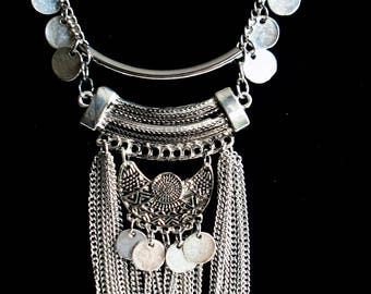 Silver Necklace Statement Jewelry Boho Necklace Everyday Jewelry Tribal Necklace Bohemian Jewelry Chain Necklace Multi Strand Charm Necklace