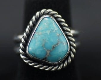 Blue Turquoise & Sterling Silver Pinky Ring US Size 4.25