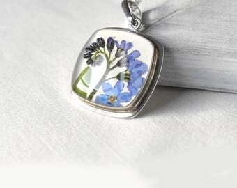 Silver pendant blue flower necklace for women valentines day gift for wife Sterling silver jewelry anniversary gift girlfriend Forget me not