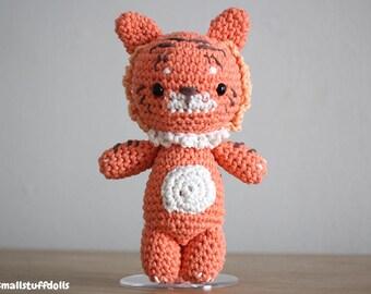 Tiger Stuffed Animal IN STOCK x Amigurumi Crochet Toy Plushie Tiger Big Cat Soft Plush Cotton Gift