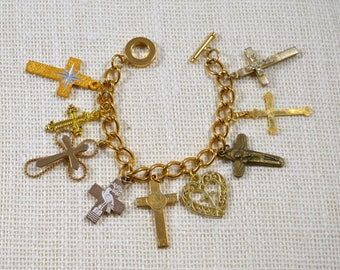 OOAK Handcrafted Cross Crucifix Religious Bracelet Religious Jewelry Artist Original Crazy Aunt Designs Design Religious Assemblage Bracelet