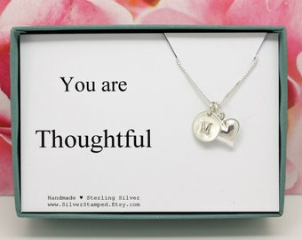 You are Thoughtful thank you gift box sterling silver necklace with heart and initial - unique thank you gift for hostess, appreciation gift