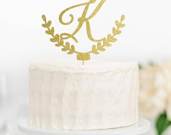 Initial Cake Topper, Monogram Wedding Cake Topper, Engagement Monogram Cake Topper, Rustic Cake Topper, Laurel Cake Topper