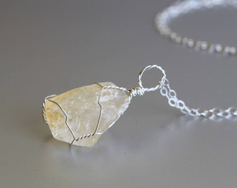 Citrine Necklace Wire Wrapped, Raw Crystal Necklace, November Birthstone, Healing Crystal Necklace, Jewelry Gift For Her