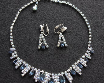 Vintage Rhinestone Necklace & Earrings