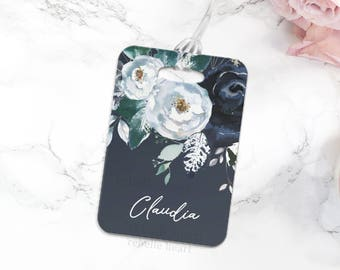 Floral Luggage Tag, Personalized Name Tag, Cute Travel Gifts, Bridal Party Gifts, Gifts for Traveling, Travel Accessories