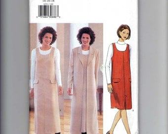 Butterick 6331 Misses' sewing pattern for A-line Jumper and Duster in sizes 14 – 16 - 18  Unused Factory Folded