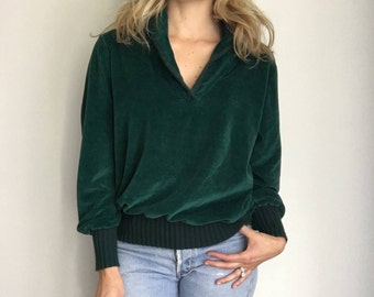 Vintage 70s Emerald Green Velour Pullover Sweater