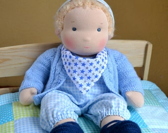 "14"" (36 cm) Waldorf Doll Baby Boy. Steiner doll-cloth doll-handmade doll-soft doll-waldorfpuppe-rag doll-girls gift-blond hair-baby doll"