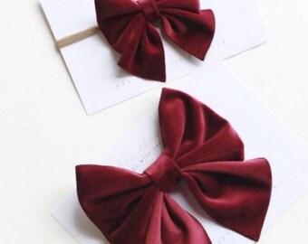 Velvet Hair Bow, Velvet Bow, Baby Bow, Velvet Headband, Velvet Hair Clip, Velvet Sailor Bow, Hair Bows For Girls, Bow Clip, Velvet Hairbow
