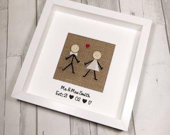 Personalised Wedding Gift - Mr & Mrs Wedding Gift - Anniversary Gift - Engagement Gift - Gift for Couple - Rustic Wedding - Scottish Wedding