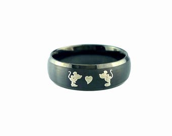 Tungsten Ring, Mickey Ring, Mickey Mouse, Disney Ring, Tungsten Wedding  Band,