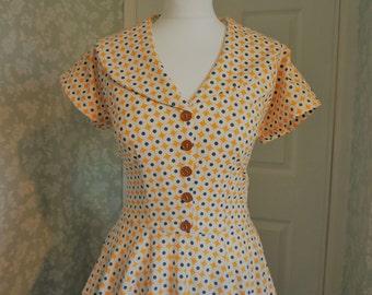 Yellow spotty print handmade 50s circle dress