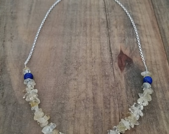 Lemon yellow Citrine, and blue lapis lazuli, Silver choker necklace
