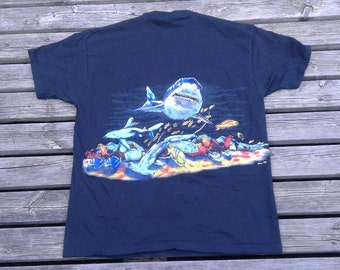 Killer Rad Vintage 90's Shark / All-over Print / Underwater Ocean Scene / Daytona Beach, Florida Made in USA by Sherry's Best XL