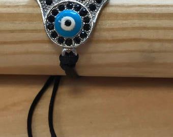 Silver and crystal Hamsa with Evil Eye Bracelet
